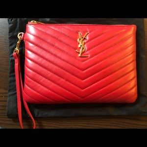 YSL MONOGRAM POUCH IN MATELASSÉ LEATHER- like NEW